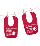'Yes yes i must confess, we both do make a terrible mess' matching unisex twins baby bibs