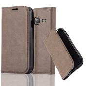 Cadorabo - Book Style Wallet with Stand Function for _ Samsung Galaxy J1 MINI (6) – Model 2016 _ with Card Slot and invisible Magnetic Closure - Etui Case Cover Protection in COFFEE-BROWN