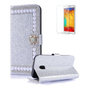 For Samsung Galaxy A320/A3 2017 Cover [with Free Screen Protector],Funyye Premium Luxury Elegance Diamond Pearl Embedded Vintage charming Wallet lovely sparkly Case [Credit Card Holder Slots] Stand Function Book Type Durable PU Leather Shell for Samsun ..