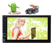 Backup Camera Include Android 7.1 GPS Car Stereo Octa-core Nougat System 2GB RAM 32GB ROM Auto Radio HD 18cm Digital Touchscreen Head Unit Support Wifi USB/SD Phone link Bluetooth None-DVD Player