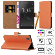 Sony Xperia L1 Case - Luxury PU Leather Wallet Cover Magnetic Closure Flip Stand View Protective Card Holder Case Cover For Sony Xperia L1 Experia L1 Cover With Screen Protector & Touch Stylus