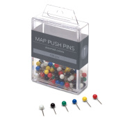 U Brands Map Push Pins, Plastic Head, Steel Point, Assorted Colours, 100-Count