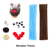 Beaute Galleria - Bundle Creativity Hairstyle Chenille Stems Pipe Cleaners w Pom Pom Hair Donut Googly Eye Hair Pin for Art Crafts Halloween Christmas Spider Reindeer Bun Holiday Hairdo