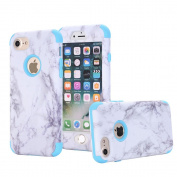 iPhone 7 Case, VPR Marble Stone Pattern Design 3 in 1 Hybrid Cover Hard PC Soft Silicone Rubber Heavy Duty Shock Absorbing Protective Defender Case for iPhone 7 (4.7 inch)