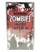 Flomo Holiday Themed Happy Halloween Scary Door Cover with Zombies Inside for House Decoration