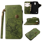 COWX S4 Mini Book style PU Leather Case Flip Cover Case Wallet Case Cover With PU Leather Case with Soft Silicone Mobile Phone Holder for Samsung Galaxy S4 Mini I9190 Leather Wallet Case