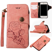 COWX case for Iphone 5s PU Leather Flip Case Book Style Folio Case/Cover Soft Silicone Mobile Phone Stand PU Leather Case for Apple iPhone 5S 5 SE Bag Pink with White