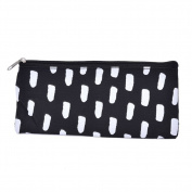 Pu Ran Black White Striped Students Stationery Pencil Bag Cosmetic Pouch Pocket Holder - White-black Dot