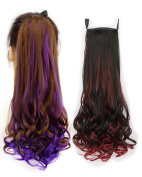 BarRan Ombre Drawstring Curly Ponytail Piece Clip in on Pony Tail Hair Extensions Hairpiece
