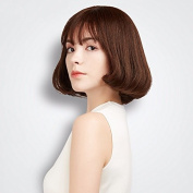 ZHUDJ Wig Female Short Hair Knots Overall Set Of Sweet Cute, Full Hand-Woven Brown