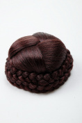WIG ME UP ® - N796-2+33/35M Hairbun Hairpiece bun hair knot braided elaborate braided plaited rim traditional custom mahogany brown mix red streaked