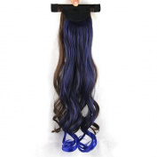 Fouriding 60cm Women's New Long Curly Wrap Around Ponytail Wavy Hair Piece Extension In/on Synthetic Wigs Hairpieces for Women,Brown+Royal Blue