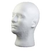 Flybuild Male Mannequin Styrofoam Foam Manikin Head Model Wig Glasses Hat Display Stand Man White