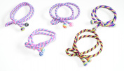 Cool Coloured Snag Free Endless Hair Elastics Bobbles Hair Bands In A Bow With Colourful Ball Ends , set of 5
