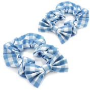 2 x Blue & White Gingham Bow Elasticated Hair Scrunchie/ Bobble/ Ponio - School Hair Accessory
