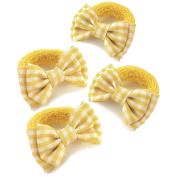 4 x Girls Yellow & White Gingham Bow Motif Hair Bobbles/ Elastics/ Ponios