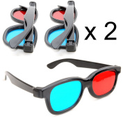 3D glasses red blue/cyan plastic framed – set of 2 pieces. Glasses for dimensional anaglyph movie/game. Made by Ganzoo