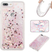 iPhone 7 Plus Case,iPhone 8 Plus Case,DAMONDY Moving Stars Bling Glitter Floating Dynamic Flowing Love Heart Ultra Clear Soft TPU Case for Apple iPhone 7 Plus & iPhone 8 Plus-pink