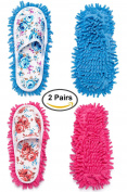 2 Pairs Microfiber Slipper Cleaning Mop Slippers Washable Detachable House Shoe Cover Dust Floor Cleaner for Bathroom Office Kitchen, Blue + Pink