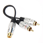 "Devinal Premium Aluminium Alloy 3.5 mm (1.8"""") Female to Dual 2-RCA Male Gold Plated Adapter, Stereo Splitter Y Audio Cable"
