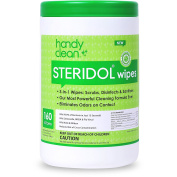 Handyclean Steridol Wipes Canister, Hard Surface Disinfectant Wipes Multipurpose Cleaning 160 Count Fresh Lemon Scent