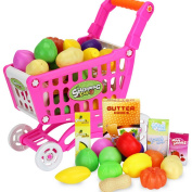 CT-Tribe Children Trolley Fruit Vegetable Play Toys Shopping Utility Cart Trolley Storage Basket Toy Kids Educational Toy
