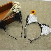 4PCS Women's Lace Ear Headbands Cat Ear Hairband for Party,Black & White