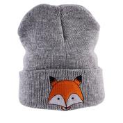 bismarckbeer Kids Baby Girls Boys Winter Warm Fox Pattern Knitted Hat Soft Cotton Beanie Cap