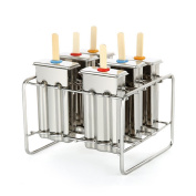 Baffect Stainless Steel Popsicle Mould With Stick Holder Ice Cream Mould set of 6