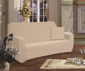 Elegant Comfort Luxury Furniture Protector Jersey Stretch Slipcover Love Seat Linen-Cream