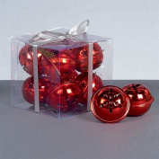 Christmas Decoration 8 Pack Snowflake 40mm Jingle Bell Baubles - Red