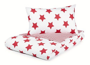 Cotbed Duvet Cover and Pillowcase Set, Red Stars and Red Gingham