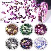 Mezerdoo 6Pcs/Set Colourful Nail Flakes Rhombus Colourful Glitter Nail Sequins Paillette Manicure 3D Nail Art Decoration Tools