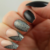 24 Artificial / False Nail Kit Black And Silver Glitter With Chevron Accents Coffin / Ballerina Tip