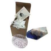 Sapphire SoapRock by TS Pink, 180ml Decorative Glycerin Soap, bundle with Spectrum Oval Soap Saver, Soap that looks like a Rock, (2 Items) Boxed with Insert Card