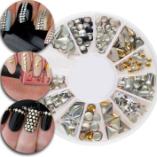 3D Nail Art Manicure Designs Decorations Wheel With Metal Nails Studs Rivets In Gold Golden and Silver Colours and 12 Fashionable Shapes