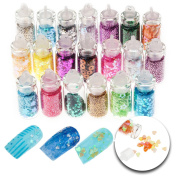 3D Nail Art Manicure Designs Set of 20 Bottles With Colourful Glitters Sparkly Sparkling Decorations In Many Different Colours