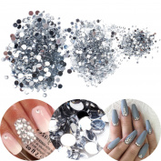 3D Nail Art Manicure Designs Box Case With 3000pcs Clear Transparent Coloured Rhinestones Crystals Gems Jewels Decorations In 3 Different Sizes