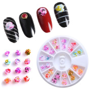 Vinjeely 3D Acrylic Nail Art Tips Decoration Flat Back Glitter Rhinestones Pearls Beads