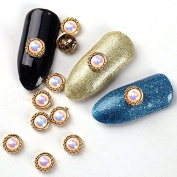 10Pcs/Lot 3D Colourful Pearl Gold Round Alloy Design Manicure Supplies Studs Nail Art Decoration Rhinestones For Nail Tips