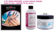 240ml Professional Monomer Adoro Sculpting decori & 240mlTRULY CLEAR Acrylic Powder compare mia secret