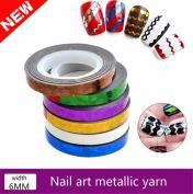 6pc Assorted Colour Zig Zag Line Chevron Striping DIY Nail Art Tape Bundle(Random Colour)