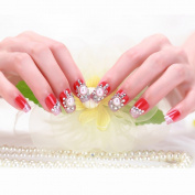 24 Pcs 12 Sizes Shining Bride Manicure Patch For Wedding Dress Transparent False Nails With Rhinestone and Pearls Full