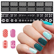 5Sheets 3D DIY Nail Art Manicure Stencil Stickers Stamping Tips Guide Nails Decoration Beauty Tools Nail Art