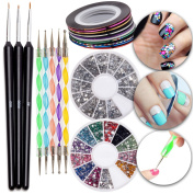 Nail Art Manicure Designs Set Including Colourful Striping Tapes Lines Strips Rolls, Rhinestones Crystals Decorations In Different Colours, Dotters Dotting Tools and Wooden Brushes Liners
