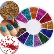 3D Nail Art Manicure Designs Decorations Wheel With Colourful Mini Beads Pearls Caviar In 12 Colours