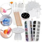 Nail Art Manicure Designs Set With Guiding Stickers Templates, Rhinestones Crystals In Different Colours, Dotters Dotting Tools, Brushes, Stamping Plates, Stamper, Scraper, Picker Pencil and Tree Rack