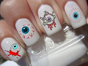 Halloween nail art set x 20 walking dead evil dead, horror zombies Decals water transfer decals stickers manicure set #H9