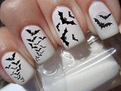 Nail Decals x 20 nail art set waterslide nail decals - Halloween Nail stickers graveyard gothic nail art design set assorted bats N164