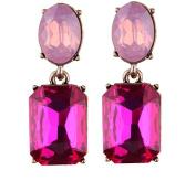 Gem Luxury Crystal Trendy Boho Long Earrings Handmade Wedding Drop Earrings Colour Rose Red